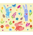 Set of cute easter rabbits vector