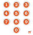 Orange sticker with number vector