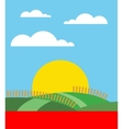 Gold wheat field  sunset or sunrise with blue sky vector