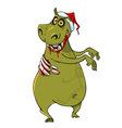Cartoon funny hippo zombie in santa hat vector