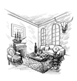 Room sketch background vector