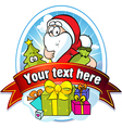 Christmas label with santa claus and gifts vector