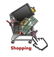 Shopping cart with household appliances vector