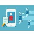 Newsletter notification on smart phone screen flat vector