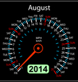 2014 year calendar speedometer car in august vector