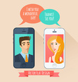 Phone conversation between a man and a woman flat vector