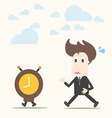 Business man follow the clock vector