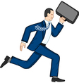 Running businessman with briefcase vector