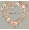 Save the date card with paisley frame vector
