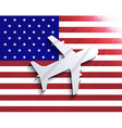 Flag with airplane travel background eps 10 vector