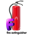 A letter f for fire extinguisher vector