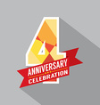 4th years anniversary celebration design vector