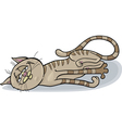 Happy sleepy cat cartoon vector