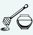 Wooden honey dipper and honey pot vector