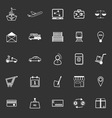 International business line icons on gray vector