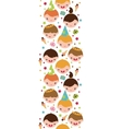 Kids at a birthday party vertical seamless pattern vector
