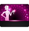 Woman holding a cocktail a sparkling background vector