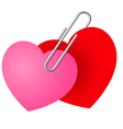 Two hearts pinned together vector