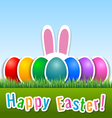 Happy easter card with eggs and bunny ears vector