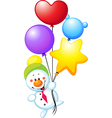 Snowman flying with colorful balloons vector