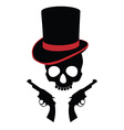 Pirate skull with two revolvers vector