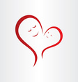 Mothers love icon mother and baby heart shape vector