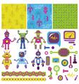 Cute little robots collection vector
