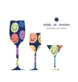 Funny faces three wine glasses silhouettes pattern vector