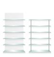 Empty shop glass shelves vector