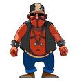 Cartoon menacing man dressed in a biker vector