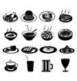 Restaurant foods icons set vector