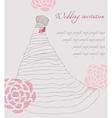 Wedding dress invitation card vector