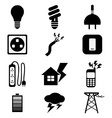 Electricity power black icons set vector