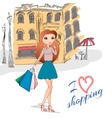 Girl with shopping bags on the street vector