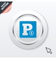 Paid parking sign icon car parking symbol vector