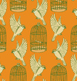 Sketch bird and cage seamless pattern vector