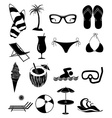 Summer beach fun icons set vector