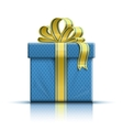 Blue gift box with yellow ribbon and bow vector