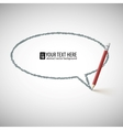 Hand drawn speech bubble with pencil vector
