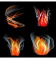 Set of flames different shapes on a black vector