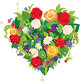 Heart shape is made of beautiful flowers - roses vector