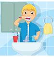 Little boy brushing teeth vector