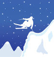 Skiing white man in winter vector