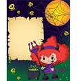 Halloween cute devil girl vector