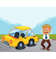 A worried man beside his car with flat tires vector