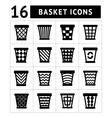Icons set of trash basket vector