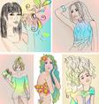 Set of beautiful girls vector