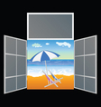 View from the window on the paradise beach vector