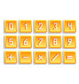 Yellow numeric button set vector