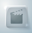 Slate board glass square icon with highlights vector
